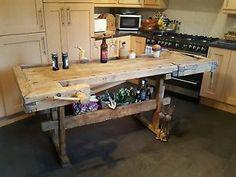 Vintage-carpenters-workbench-kitchen-island-butchers-block-industrial-table
