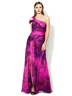 Silk Printed One Shoulder Gown by ML Monique Lhuillier at Gilt