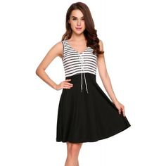 Dresslink - Dresslink Black Sleeveless Patchwork Front Lace Up A-Line Dress - AdoreWe.com