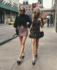 Pin for Later: The 30 Best Blogger Outfits From Fashion Week, According to Instagram Coordinated BFF Outfits That Include Bell Sleeves, Chunky Platforms, and Thick Sunglasses Blogger: Peace Love Shea Likes: 16.7K