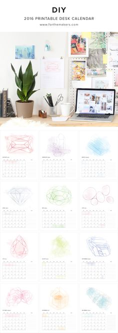 Free Printable Desk Calendar for 2016 // Download our free printable calendar for 2016. January through December are available in PDF format // watercolor birthstone illustration for every month