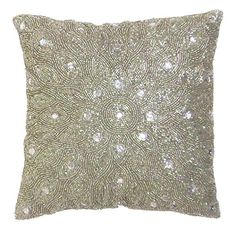 Cotton Craft - Peacock Hand Beaded Decorative Pillow 12x12 Square Silver, Painstakingly and lovingly handmade by skilled Artisans, A beautiful and elegant accessory to dress up your couch, sofa or bed Cotton Craft http://www.amazon.com/dp/B00YU42YTC/ref=cm_sw_r_pi_dp_dVw-vb1232RT1