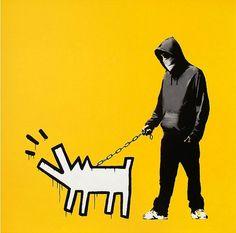 Banksy walking Keith Harring dog