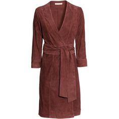 H&M Wraparound Suede Dress ❤ liked on Polyvore featuring dresses, wrap around dress, h&m dresses, suede wrap dress, red suede dress and wraparound dress
