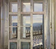 Finestra sul mare, Window to the Sea  -  Matteo Massagrande  Italian, b. 1859-  Oil and mixed media on board , 27 3/5 × 31 ½ in ,70 × 80 cm