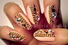 polka dots stripes pink and black french nails   See more at www.nailsss.com/...