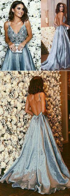 beaded grey backless v-neck long prom dress, BD7771