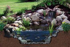 Pond Kits With Waterfall, Garden Waterfall, Waterfall Design, Ponds For Small Gardens, Small Ponds, Water Gardens, Outdoor Ponds, Ponds Backyard, Backyard Waterfalls