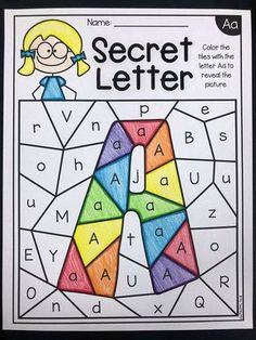 Alphabet worksheet for kindergarten and preschool students. Students color the letters to work out the secret letter. Letter a worksheet for kindergarten and preschool students. Students color the letters to work out the secret letter. Letter a. Preschool Learning Activities, Kindergarten Worksheets, Classroom Activities, Preschool Worksheets Alphabet, Center Ideas For Kindergarten, Teaching Resources, Free Worksheets, Motor Activities, Teaching Letters