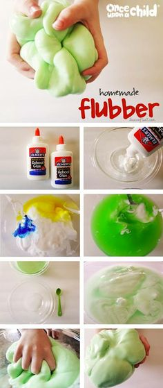 • 3/4 cup cold water • 1 cup Elmer's glue • liquid food coloring • 1/2 cup hot water • 1 teaspoon borax Directions: In bowl 1 – mix together the cold water, glue, and food coloring, set aside. In bowl 2 – mix together the hot water and borax, until the borax is completely dissolved. Slowly add glue mixture to borax mixture. Mix well. Pour off excess water.