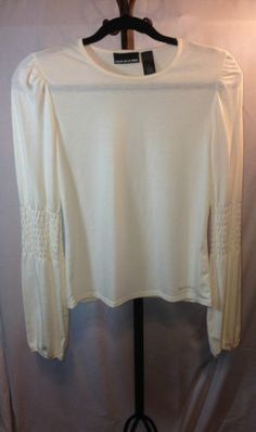 DKNY Women's Casual Cream Colored Top with Long Ruched Sleeves Sz M | eBay