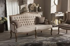 Baxton Studio Oliver French Provincial Style Weathered Oak Wood Beige Fabric Button-tufted Upholstered 3-seater Sofa