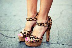 Leopard print strappy platforms