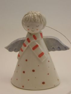 Angel Ceramic Bell   red and pink decor by TatjanaCeramics on Etsy,