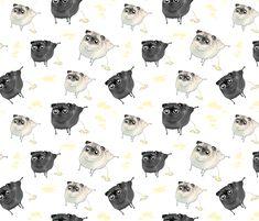 Pee Pilates - Peeing Pugs (black pug and fawn pug) fabric by inkpug on Spoonflower - custom fabric