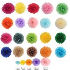 10-PCS-PomPom-Papier-Blumen-Kugel-Weihnachten-Deko-15-20-25-30-35-CM-Auswahl