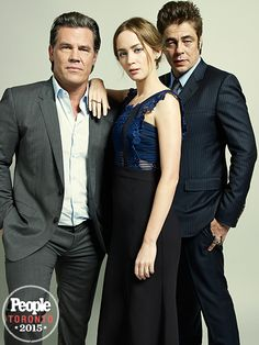 JOSH BROLIN, EMILY BLUNT & BENICIO DEL TORO | What a cast! The stars of the action film Sicario arrive for their portrait while staying in character – ready to put up an epic fight at any given moment. #TIFF #TIFF2015