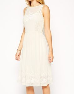 ASOS DRESS WITH DROP WAIST AND EMBROIDERY