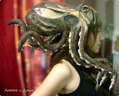 Paper Mache Octopus Hat Tutorial - Site is in Russian and instructions are minimal. What a cool Steampunk costume. Diy Costumes, Cosplay Costumes, Halloween Costumes, Costume Steampunk, Halloween Karneval, Papier Diy, Hat Tutorial, Cosplay Diy, Art Plastique