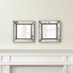 Set of 2 Dubois Small Square Wall Mirrors   Crate and Barrel