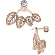 Inc International Concepts Rose Gold-Tone Crystal Filigree Earring... ($23) ❤ liked on Polyvore featuring jewelry, earrings, rose gold, pave crystal jewelry, dot jewelry, dot earrings, filigree jewelry and leaf jewelry