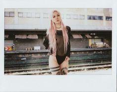 Polaroid , instax , pink hair , tattoo girl