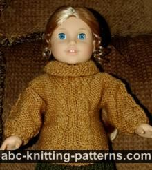 Ravelry: American Girl Doll Cable Aran Sweater pattern by Elaine Phillips Knitting Dolls Clothes, Ag Doll Clothes, Crochet Doll Clothes, Knitted Dolls, Doll Clothes Patterns, Doll Patterns, Knit Patterns, Jumper Knitting Pattern, Free Knitting