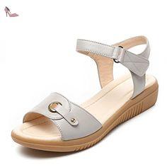 L@YC Femmes Sandales éTé Plat à Talons En Cuir Soft Skid anti DéRapage Grande Taille Robe Des Femmes Chaussures , white , 35 - Chaussures lyc (*Partner-Link)
