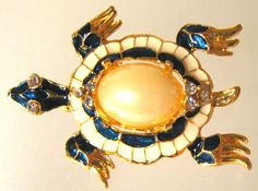 Vintage Signed Trifari Pearl Belly Blue Enamel Rhinestone Turtle Brooch Pin | eBay