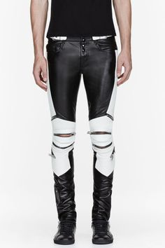 a52aa575072d4 Saint Laurent Black and White Ribbed Zipped Biker Pants in Black for Men