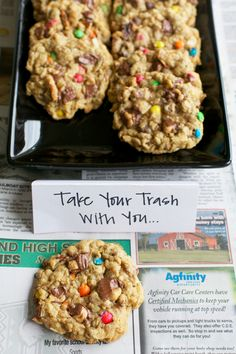 The best garbage cookies — perfect recipe for a trash bash! Cookie Desserts, Just Desserts, Cookie Recipes, Delicious Desserts, Dessert Recipes, Yummy Food, Coconut Cookies, Yummy Cookies, Yummy Treats