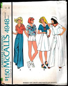 McCalls 4948 Misses Top,Skirt,Pants or Shorts Size Sailor Collar, Button Front Pants Size 12 The pieces are uncut, factory-fold, it does include the instructions.