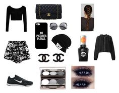 """All black"" by jocelyn-santisteban on Polyvore featuring Chicnova Fashion, Boohoo, NIKE, Chanel, Casetify, Wood Wood, Vans, Sally Hansen and rag & bone"