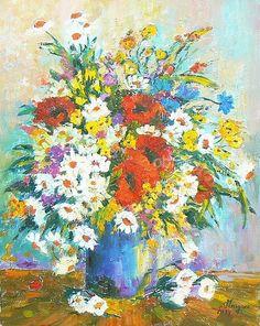 Polne kwiaty. Cudownie kwiecisty obraz, przepełniony barwami wykonany farbami olejnymi na płótnie, bez oprawy. Wyjątkowy element dekoracyjny do każdego wnętrza.