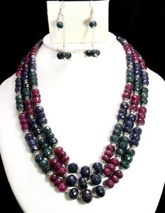 1313ct Natural Ruby Emerald Sapphire Multi Designer Beads Necklace with Earrings #Handmade #Choker