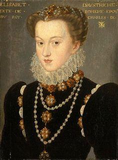 Portrait of Elizabeth of Austria, by François Clouet, after 1571