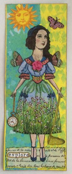 Paper doll art tag by Shannon Benedetti. Character Constructions and Chapel Road stamps.