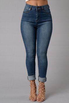 Modern High Rise Skinny Jeans - Medium Blue