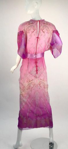 1970s Zandra Rhodes Hand Painted Silk Evening Gown  | From a collection of rare vintage evening dresses and gowns at https://www.1stdibs.com/fashion/clothing/evening-dresses/