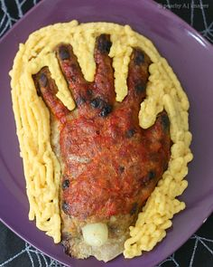 Creepy Meatloaf Hand for Halloween Dinner - The Peach Kitchen