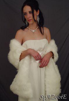 Ivory 78 Inch length  long mongolian faux fur bridal