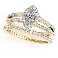 Engagement Ring -Marquise Diamond Split Band Halo Bridal Set in Yellow... ($2,160) ❤ liked on Polyvore featuring jewelry, rings, gold diamond rings, engagement rings, halo diamond ring, gold heart ring and diamond engagement rings
