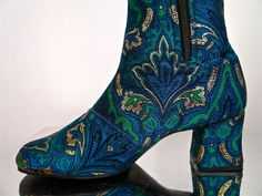 INCREDIBLE 60s psychedelic tapestry look turquoise and gold gogo boots