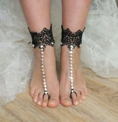 bridal anklet, black flower, Beach wedding barefoot sandals, bangle, wedding anklet, anklet, bridal, bellydance, gothic