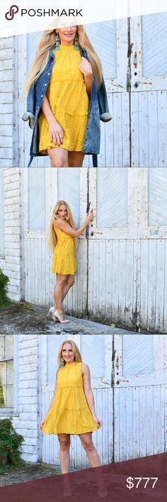 """BABYDOLL MUSTARD YELLOW DRESS Brand new  Boutique item   This fabulous mustard yellow mock dress is perfect for the season! In warmer days pair with sandals and floppy hat for colder days pair with a denim jacket and booties. The dress features 3 ruffled rows as seen in pics.   100%polyester  Small Bust approx 36"""" around/length 31"""" Medium Bust approx 38"""" around /length 31""""  Large Bust approx 40"""" around/length 31.5""""  Hand measurements are approx MODA ME COUTURE Dresses"""
