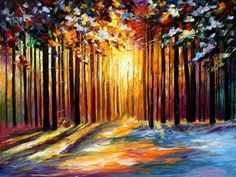 """Sun Of January — PALETTE KNIFE Landscape Forest Oil Painting On Canvas By Leonid Afremov - Size: 40"""" x 30"""""""
