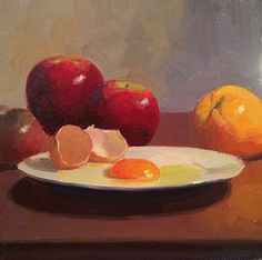 A Fine Egg's Apple by Dennis Perrin Oil ~ 12 x 12