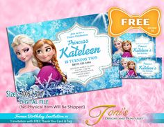 FROZEN Invitation, Frozen Birthday Invitation, FREE Frozen Thank You Card & Tag,  Frozen Theme Party, Frozen Printable, Frozen Editable 01 by TonisDsAndPs on Etsy