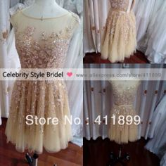 Elie Saab Sexy Real Actual Image Boat Neck Gold Lace Beads Short Prom/Evening Dresses $285.00
