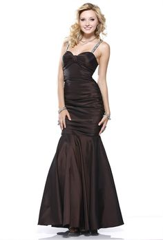 Floor Length Mermaid Brown Prom Dress Sweetheart Sequined Evening Gown   $142.00